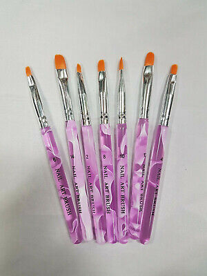 Purple Nail Art / UV Gel Brush (7 Pack)
