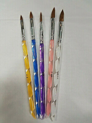NEW 5x Acrylic Brushes (5 Pack) for Acrylic nails. UK SELLER