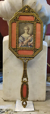 Antique French Hand Mirror W/ Miniature Painting & Enamel. Free Shipping*