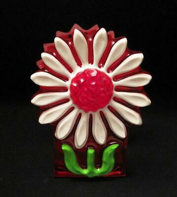 Vintage Crystal Craft Resin Daisy Napkin Holder With Label Flower Power Retro