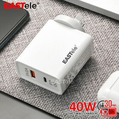 EASTele 45W Fast Charging USB Wall AC Charger Power Adapter Type-C QC PD 3.0