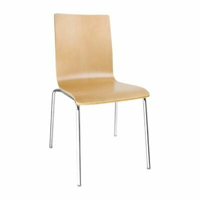 Bolero Side Chair with Square Back in Natural - Steel Frame - Beech Veneer