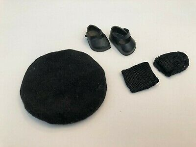 Vintage Marked Vogue Ginny Doll Shoes Black Side Button w/ Heels + Tan + Socks