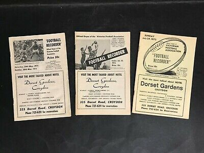 Football Record Vfa Lot Of 3 Recorders 1971, 72, 73