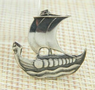 Carl Ove Frydensberg COF Sterling Silver Viking Ship Pin Brooch Vintage