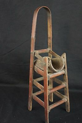 """Great antique Chinese carved wood chair-shaped brush holder 12"""""""