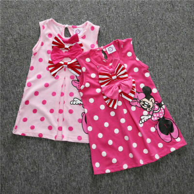 Baby Girls Kids Minnie Mouse Polka Dot Bowknot Dress Long Top