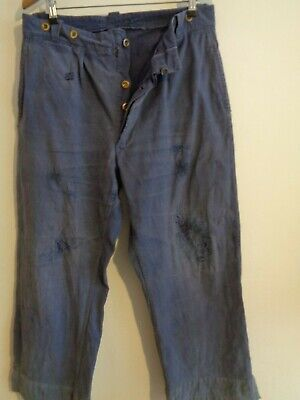 Vtg 40s French indigo blue cotton sun faded hobo work trousers chore pants