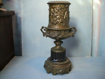 Original Antique Cast Bronze Oil Lamp Base Stand Bare Breasted Maiden Decoration