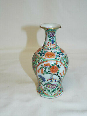 Small antique Chinese handpainted polychrome porcelain vase.