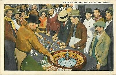 1938 Playing A Game of Chance (Roulette), Las Vegas, Nevada Postcard