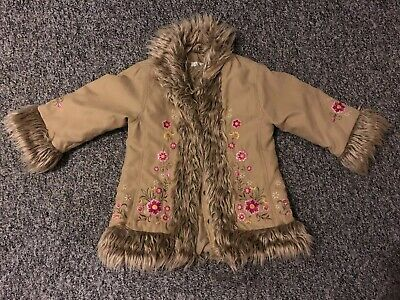 H&M Girls Embroidered Faux Fur Coat Jacket 92 Cm 1 1/2-2 Years S AUTUMN Winter
