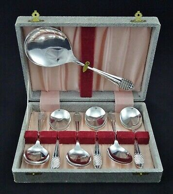 Boxed Heavy Vintage Silver Plated Fruit Spoons And Server Sheffield Epns A1