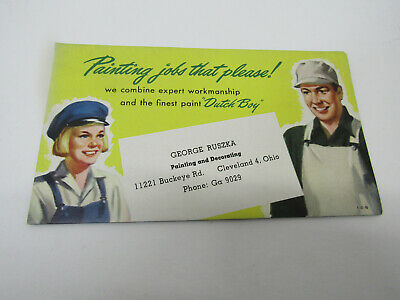 Old Advertising Sign Cardboard Dutch Boy Paint Ad Painting Jobs That Please
