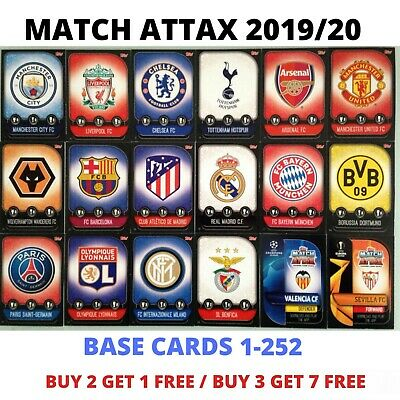 Match Attax 2019/20 19/20 Base Cards Team Badges 1-252 Liverpool Manchester...
