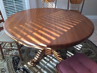 Antique Round Oak Dining Table Claw Feet Base 60 In Top