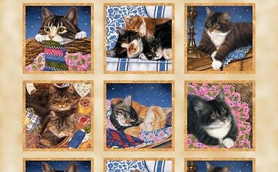 Wilmington Sew Curious by Anne Mortimer 80159 289 Tan Cats  BTY Cotton Fabric