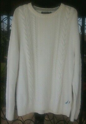 Mens Sweater Pullover Nautica Size XL Cream  Crew Neck Cable Knit Long Sleeve