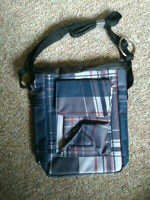 New Insulated Blue Plaid Lunch Food Carrier Bag With Straps By Aarp 9""