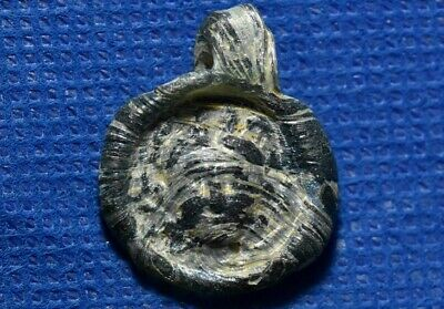 Ancient Late Roman - Early Byzantine 4-6 Century AD Glass Medusa Amulet Pendant.