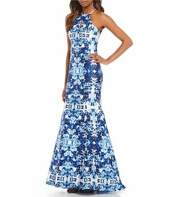 XSCAPE White Blue Floral Print Embellished Mikado Halter Keyhole Mermaid Gown 4