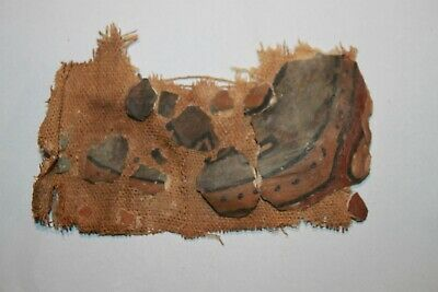 ANCIENT EGYPTIAN MUMMY TEXTILE SECTION with PAINTED GUESSO 30th DYNASTY c.380 BC