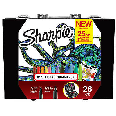 Sharpie Coloring Kit with Permanent Markers, Art Pens and Coloring Booklet