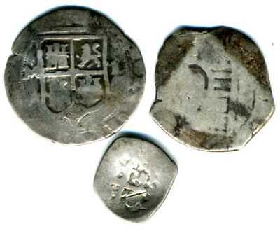 XS-  Spanish Colonial Lot x3 Silver coins 1500's-1700's