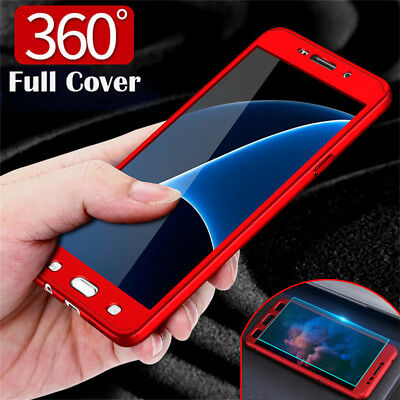 360° Full Cover Hybrid Slim Case+Tempered Glass For Samsung J3 J5 J7 Pro 2017