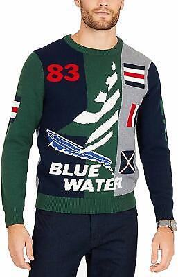 Nautica Mens Sweater Green Size Large L Crewneck Graphic Ribbed Knit $128 210