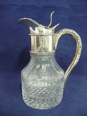Large Vintage Crystal & Ornate Silver Claret Decanter, Made In Italy, Hallmarks