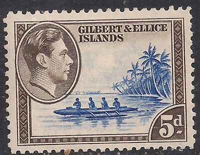 Gilbert & Ellice Islands 1939 - 55 KGV1 5d Island Canoe MM SG 49 ( K1500 )
