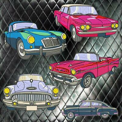 CLASSIC CARS 22 MACHINE EMBROIDERY DESIGNS CD or USB