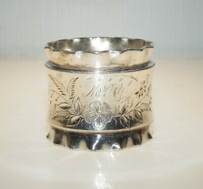 Antique Victorian Silver Plated Napkin Ring Monogram M G Y Floral