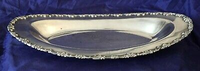 KO0007 Vtg Silverplate Oblong Bread Serving Tray Floral Design