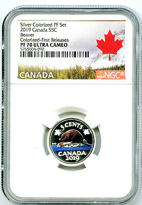 2019 Canada 5 Cent Silver Colored Proof Ngc Pf70 Ucam Nickel First Releases Rare