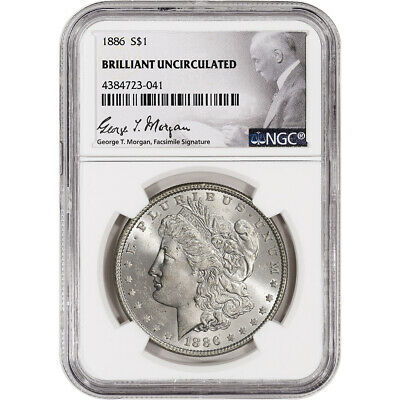 1886 US Morgan Silver Dollar $1 - NGC Brilliant Uncirculated