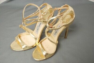 Details about Jimmy Choo Women's Shoes Sandals Black Gold 38 US 8 High Heels Strappy Snakeskin