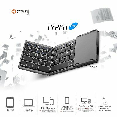Ultrathin Foldable Bluetooth Keyboard Portable with Touchpad with Battery lot YI