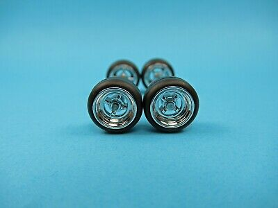 1/64 Wheels 1/64 Wheel and Tire Set Real Riders 4-Spoke Style Chrome 4A