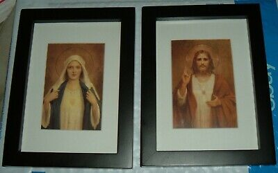 Twin Hearts IMMACULATE HEART OF MARY & SACRED HEART OF JESUS  Black Frames NEW
