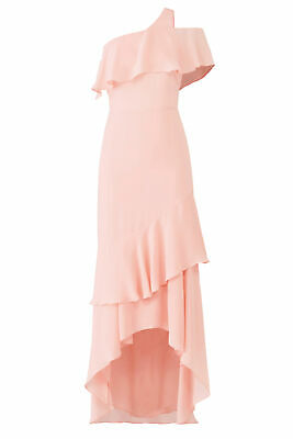 Parker Pink Women's Size 4 Tiered High Low Popover Gown Dress $368- #397