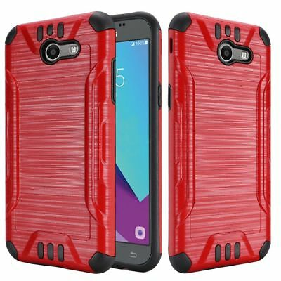 Samsung Galaxy J7 Prime J727T 2017/Halo Red Brushed Texture Armor Case Cover