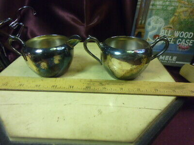 Vtg FB Rogers Silver Co Trademark 1883 silver on copper Sugar Bowl & Creamer-F/S