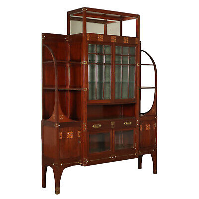 Liberty Display Cabinet Mahogany Italy Early 1900s