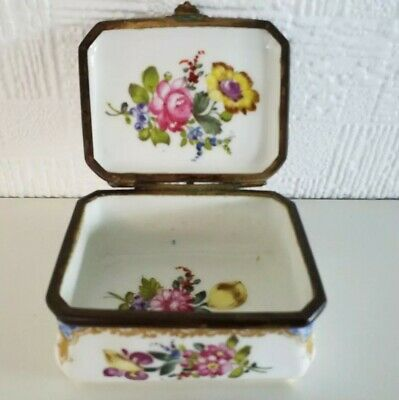 Large Antique Dresden Meyers & Son Porcelain Trinket Ring  Jewellery Box C1880