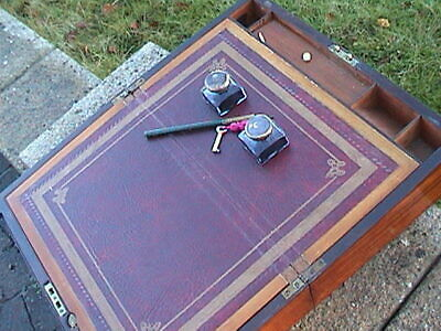 Victorian Inlaid Satinwood Writing Slope  - Complete