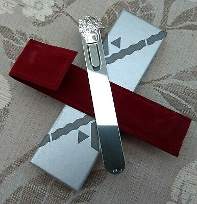Lovely Solid Silver Bookmark With Velvet Pouch In Original Box Unused