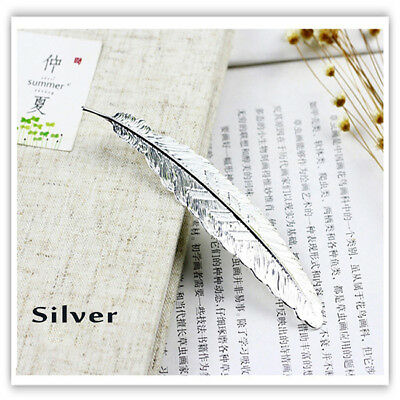 Feather Shaped Silver Plated Metal Bookmarks Book Markers Gift For Readers GG