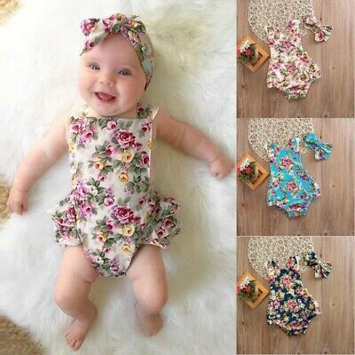 Toddler Baby Girl Mini Floral Outfits Jumpsuit Kid Summer Beach Sunsuit+Headband